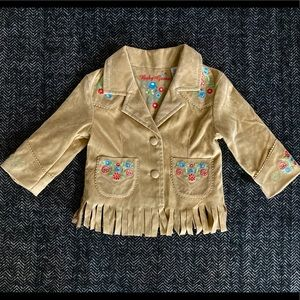 Guess faux suede fringed cow girl jacket size 6-9M